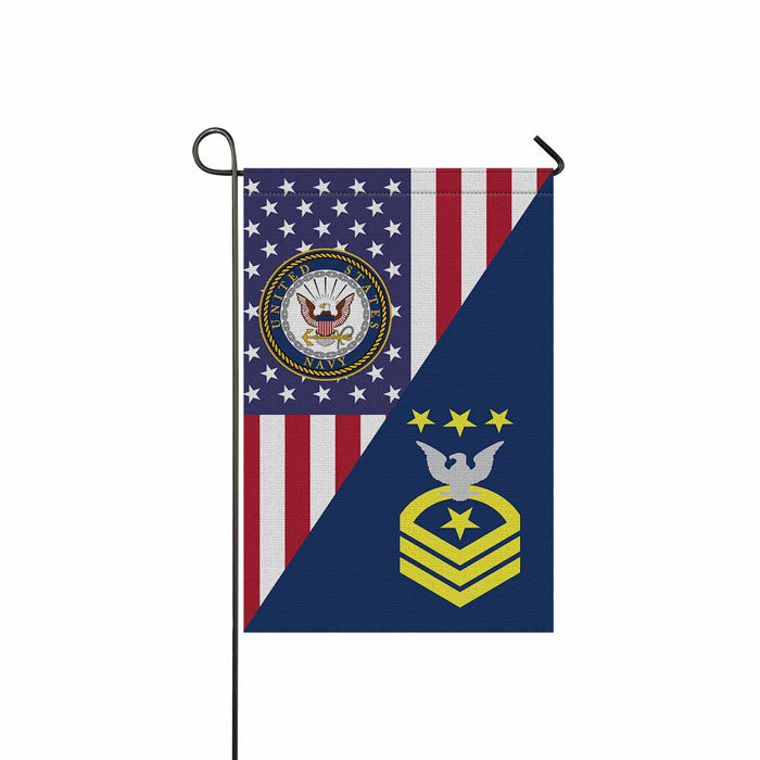 US Navy E-9 Master Chief Petty Officer Of The Navy E9 MCPON Collar Device Garden Flag 12'' x 18'' Twin-Side Printing