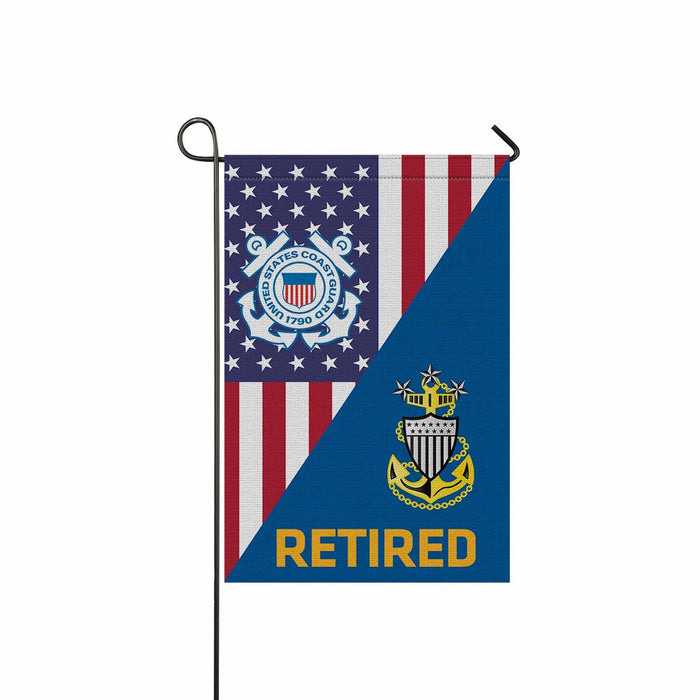 US Coast Guard E9 MCPOC Senior Enlisted Advisor Collar Device Retired Garden Flag 12'' x 18'' Twin-Side Printing