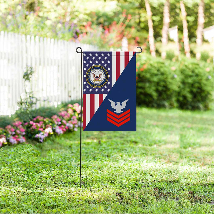 US Navy E-6 Petty Officer First Class E6 PO1 Collar Device Garden Flag 12'' x 18'' Twin-Side Printing