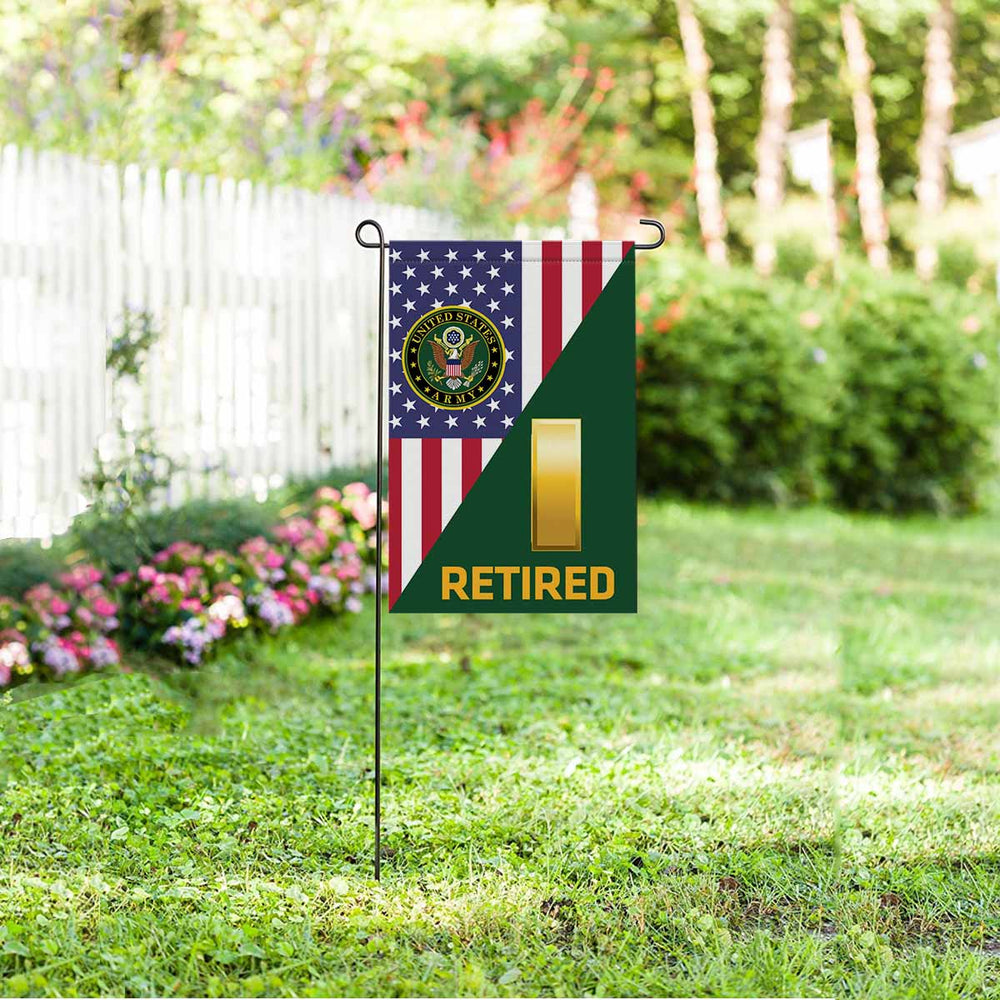 US Army O-1 Second Lieutenant O1 2LT Commissioned Officer Retired Garden Flag 12'' x 18'' Twin-Side Printing