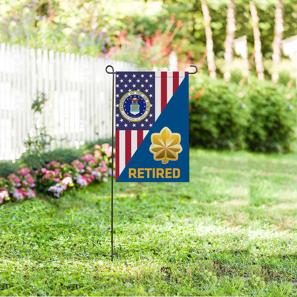 US Air Force O-4 Major Maj O4 Field Officer Retired Garden Flag 12'' x 18'' Twin-Side Printing