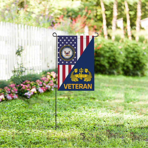 US Navy Deep Submergence Officer Badge Veteran Garden Flag 12'' x 18'' Twin-Side Printing