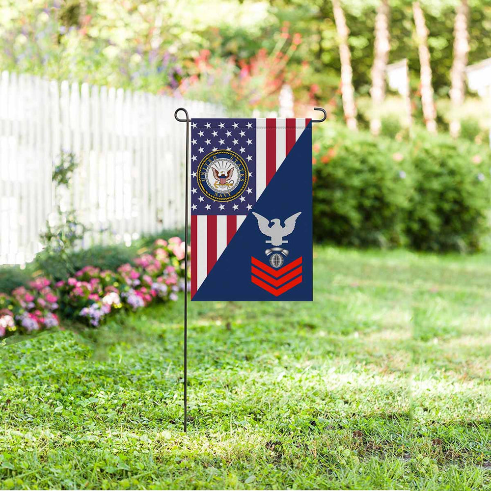 "Navy Interior Communications Electrician Navy IC E-6 Red Stripe  Garden Flag 12"" x 18"""