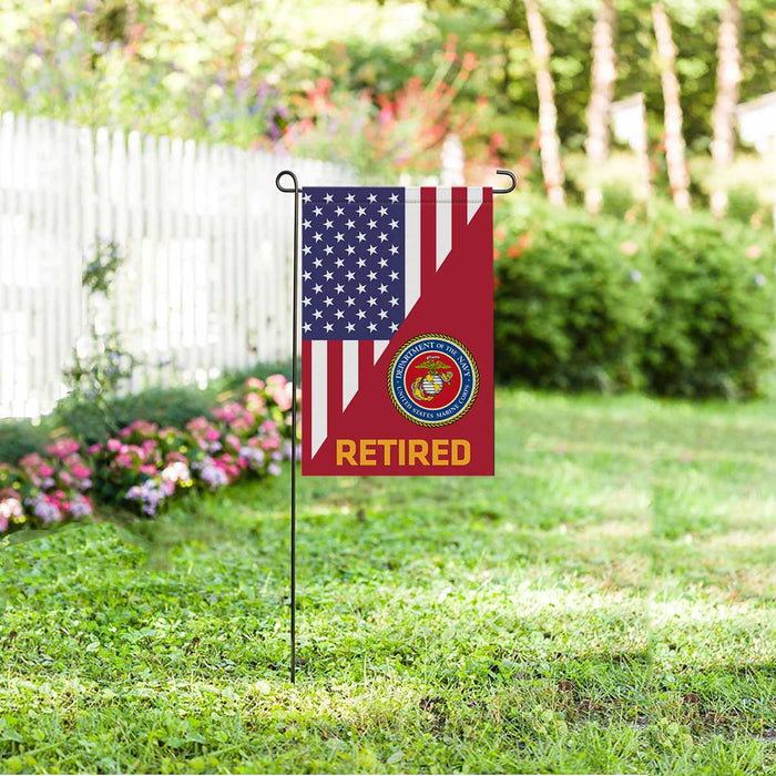 US Marine Corps Retired Garden Flag 12'' x 18'' Twin-Side Printing