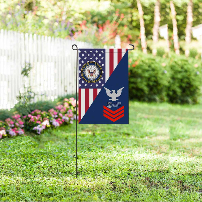 "Navy Postal Clerk Navy PC E-6 Red Stripe  Garden Flag 12"" x 18"""