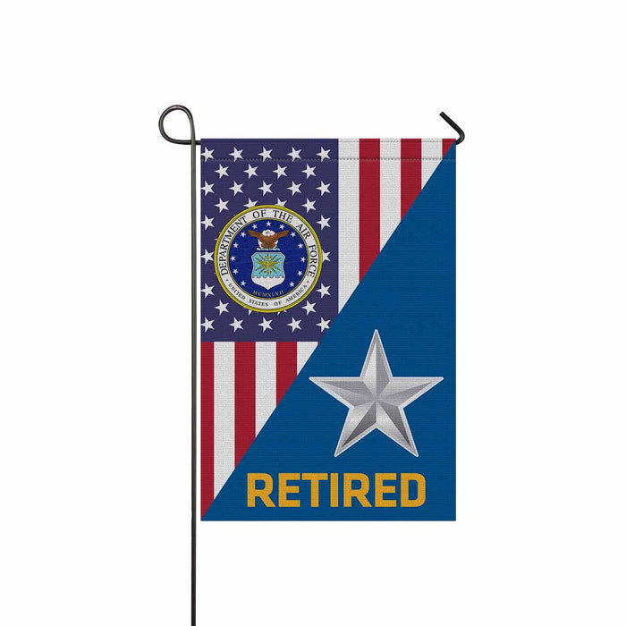 US Air Force O-7 Brigadier General Brig O7 Retired Garden Flag 12'' x 18'' Twin-Side Printing