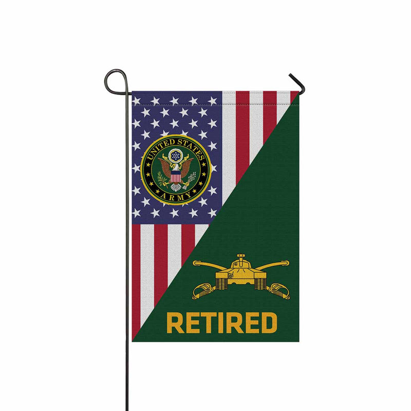 U.S Army Armor Retired Garden Flag 12 Inch x 18 Inch Twin-Side Printing