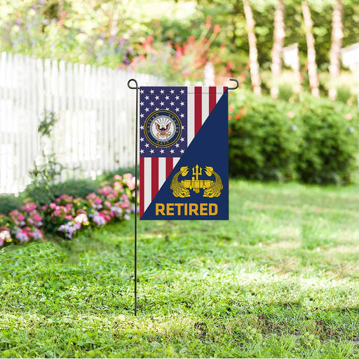US Navy Deep Submergence Officer Badge Retired Garden Flag 12'' x 18'' Twin-Side Printing