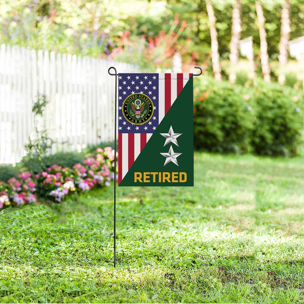 US Army O-8 Major General O8 MG General Officer Retired Garden Flag 12'' x 18'' Twin-Side Printing