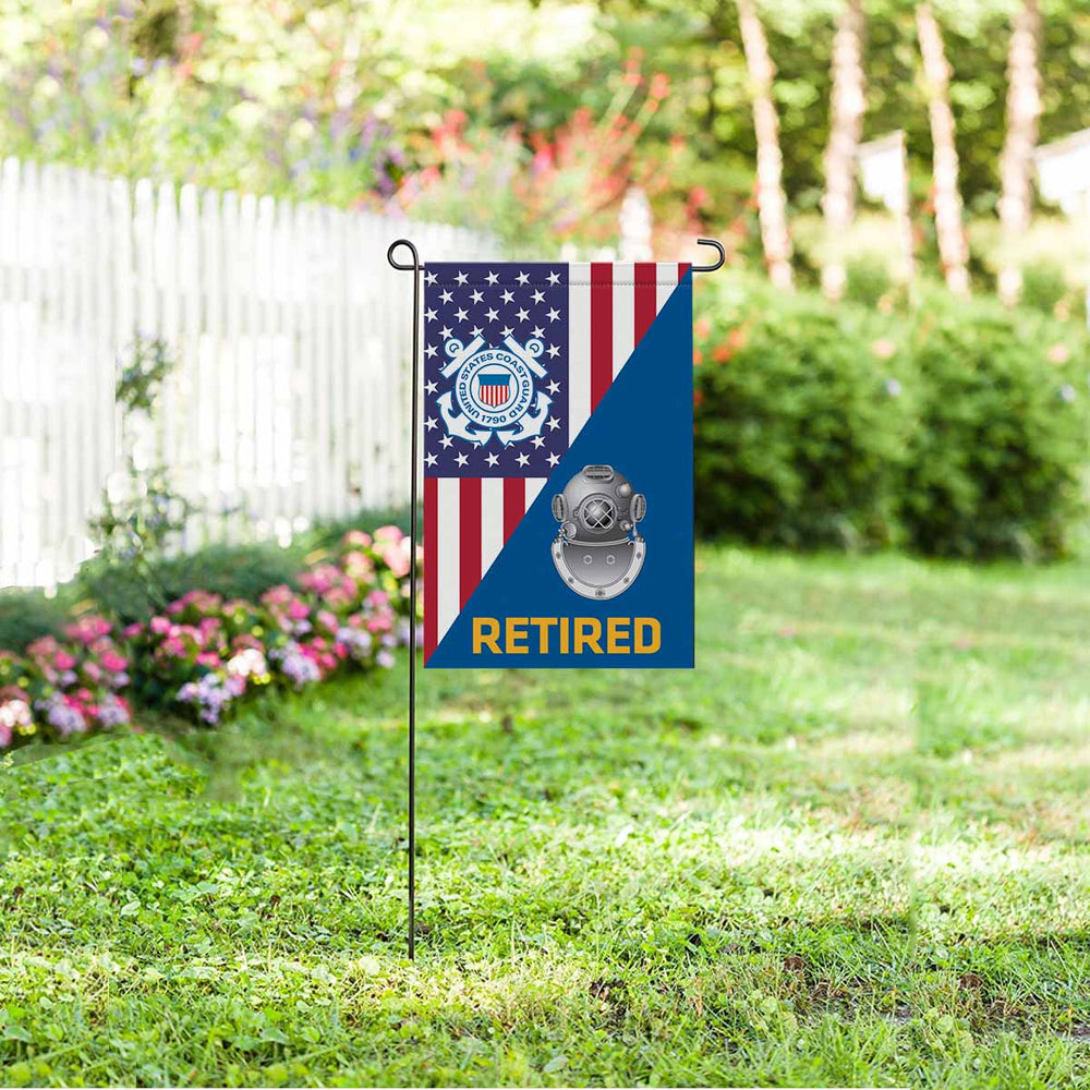 US Coast Guard Diver ND Retired Garden Flag 12'' x 18'' Twin-Side Printing
