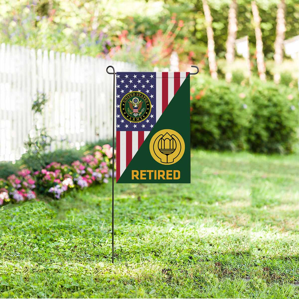 US Army Chaplain Assistant Retired Garden Flag 12 Inch x 18 Inch Twin-Side Printing