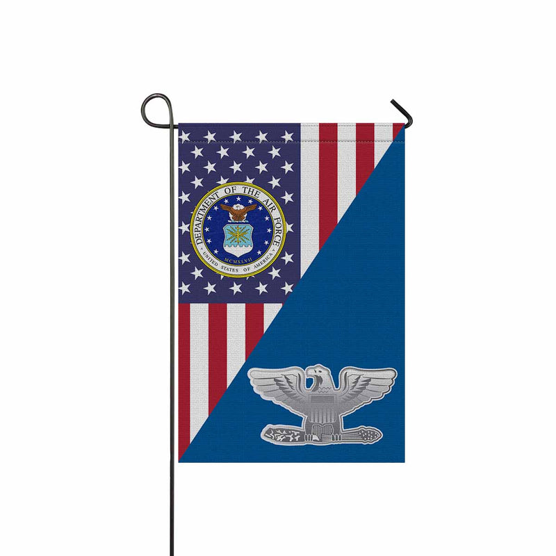 US Air Force O-6 Colonel Col O6 Field Officer Ranks Garden Flag 12'' x 18'' Twin-Side Printing