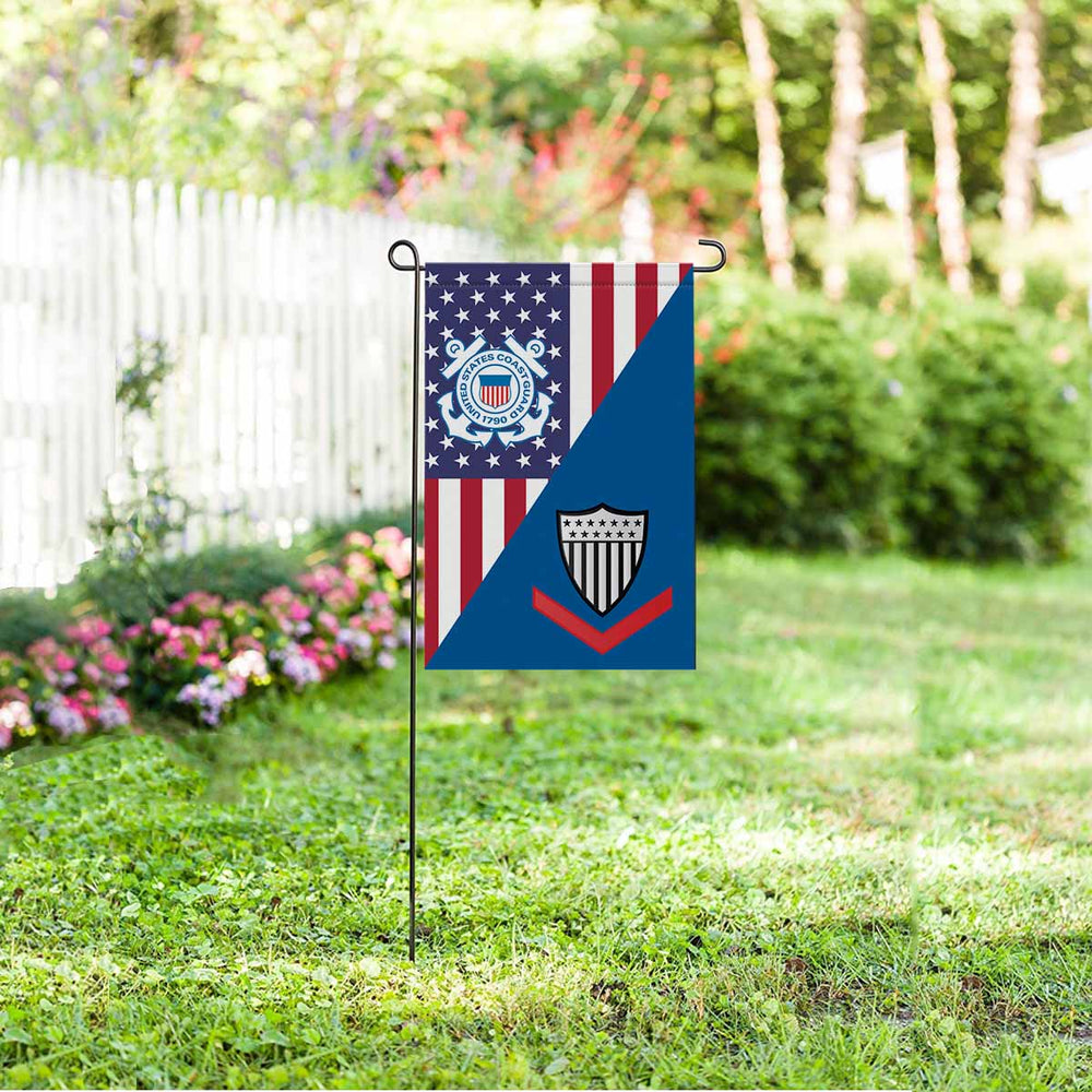 US Coast Guard E-4 Petty Officer Third Class E4 PO3 Petty Officer Collar Device Garden Flag 12'' x 18'' Twin-Side Printing