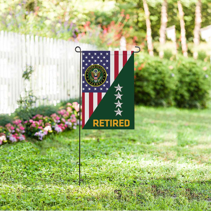 US Army O-10 General O10 GEN General Officer Retired Garden Flag 12'' x 18'' Twin-Side Printing