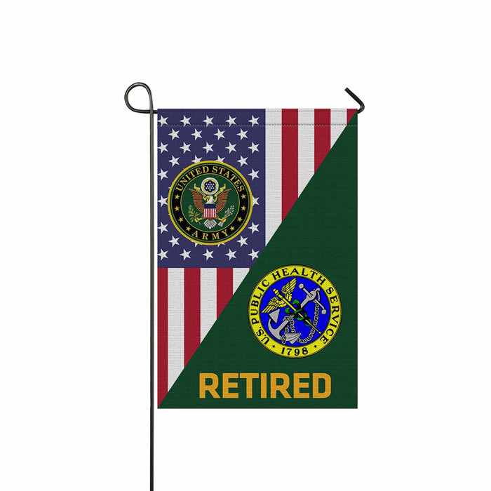 US Army Public Health Service Retired Garden Flag 12 Inch x 18 Inch Twin-Side Printing