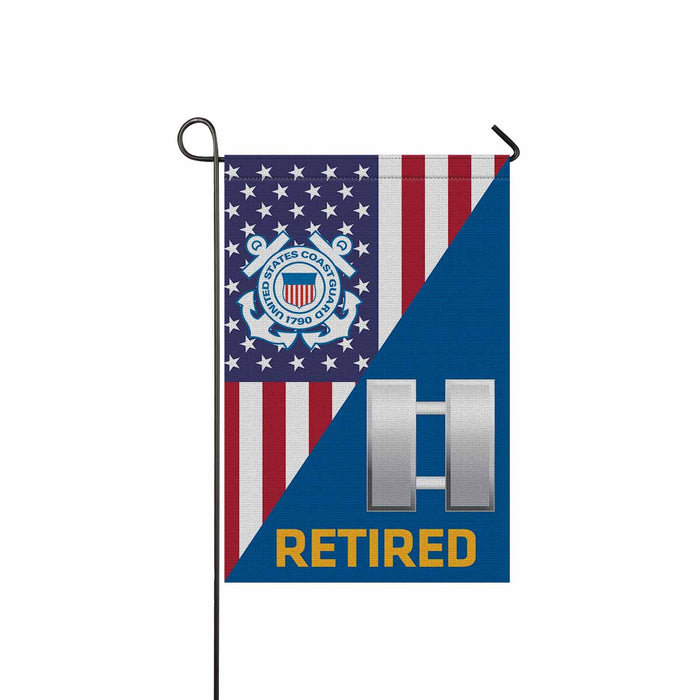 US Coast Guard O-3 Lieutenant O3 LT Junior Officer Ranks Retired Garden Flag 12'' x 18'' Twin-Side Printing