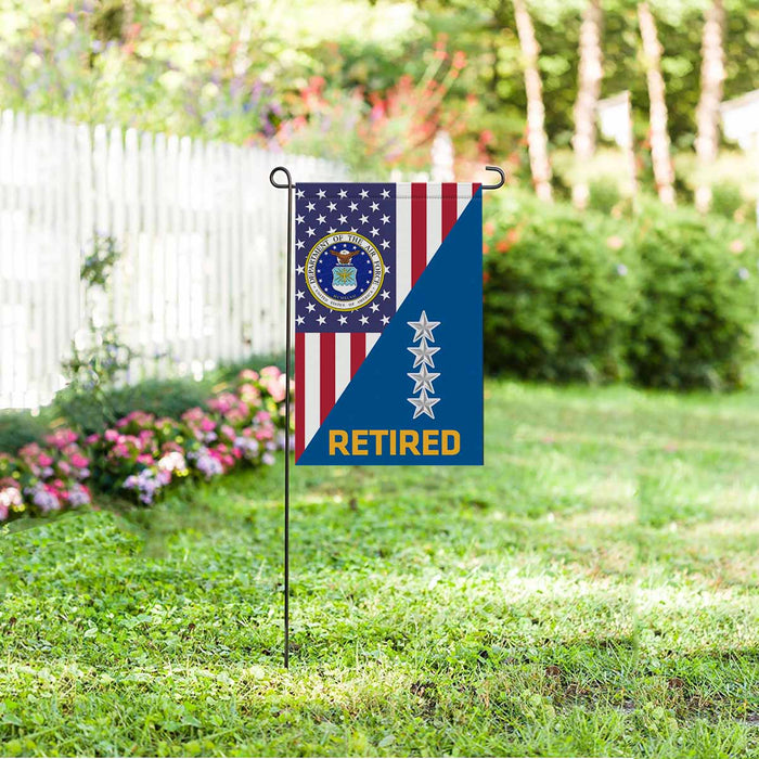 US Air Force O-10 General Gen O10 Retired Garden Flag 12'' x 18'' Twin-Side Printing