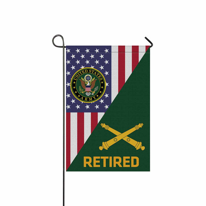 US Army Field Artillery Retired Garden Flag 12 Inch x 18 Inch Twin-Side Printing