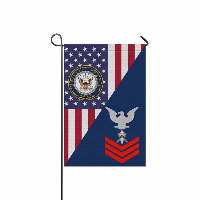"U.S Navy Builder Navy BU E-6 Red Stripe  Garden Flag 12"" x 18"""