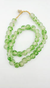 African Recycled Glass Beads-Green Speckled Handmade Glass Bead- Ethnic African-(13-14mm)