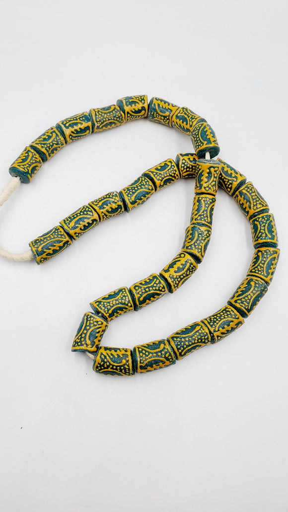 Hand painted African Recycled Glass Beads-teal and yellow-Tube beads (15x25mm)