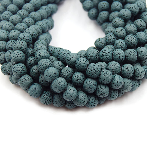Dark Teal Colored Volcanic Lava Rock Round/Rondelle Shaped Diffuser Beads - (6mm 8mm 10mm 12mm 14mm 16mm Available)