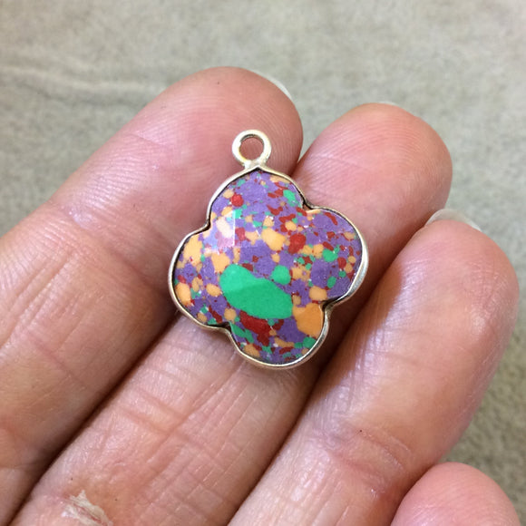 OOAK Silver Plated Faceted Manmade Resin/Clay Spotted Multicolor Quatrefoil Shaped Bezel Pendant - Measuring 18mm x 18mm - Sold Individually