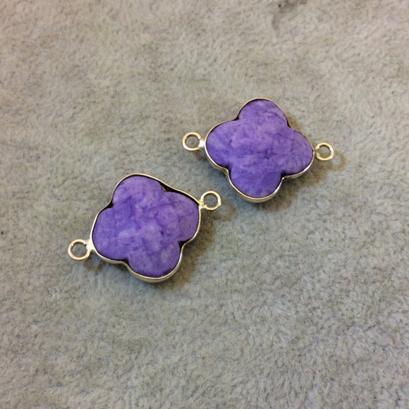 Silver Plated Faceted Manmade Resin/Clay Mottled Purple Quatrefoil Shaped Bezel Connector - Measuring 18mm x 18mm - Sold Individually