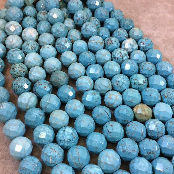 12mm Mixed Dyed Blue Howlite Faceted Round/Ball Shaped Beads with 2mm Holes - 7.75