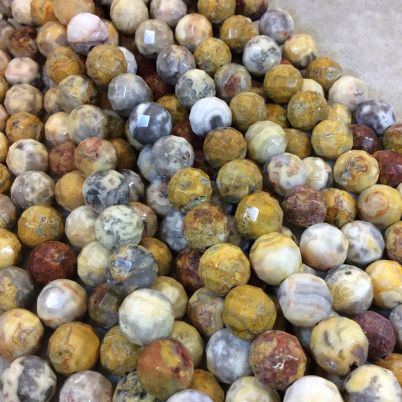 12mm Natural Crazy Lace Agate Faceted Round/Ball Shaped Beads with 2.5mm Holes - 7.75