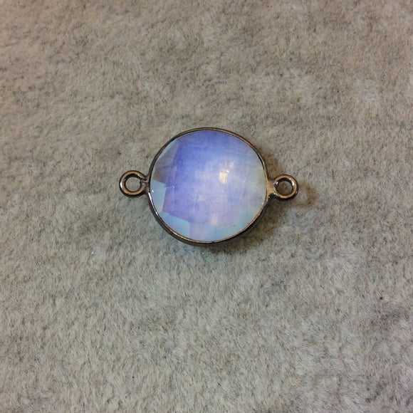 Gunmetal Plated Faceted Milky Opalite (Manmade Glass) Round/Coin Shaped Bezel Connector - Measuring 15mm x 15mm - Sold Individually