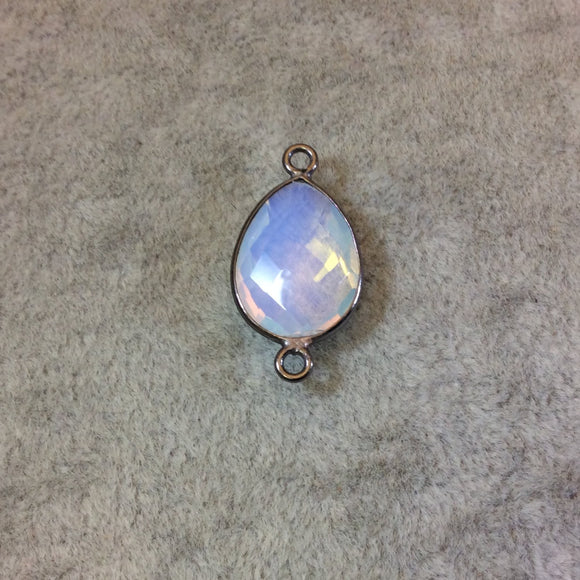 Gunmetal Plated Faceted Milky Opalite (Manmade Glass) Pear/Teardrop Shaped Bezel Connector - Measuring 12mm x 16mm - Sold Individually