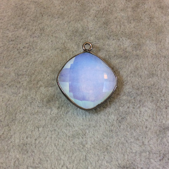 Gunmetal Plated Faceted White Opalite (Manmade Glass) Diamond Shaped Bezel Pendant - Measuring 18mm x 18mm - Sold Individually