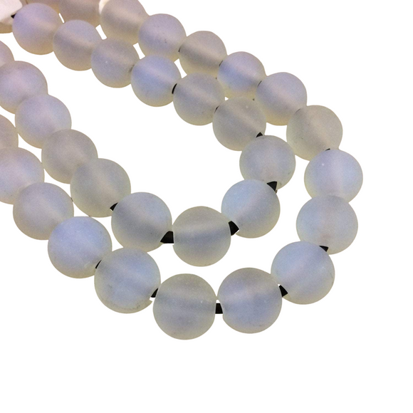 10mm Milky Translucent Opalite Matte Finish Round/Ball Shaped Beads with 2.5mm Holes - 7.75