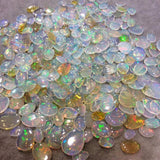 Natural Ethiopian Opal Smooth Round Shaped Flat Back Cabochon 'A' - Measuring 13mm x 13mm, 6mm Dome Height - High Quality Gemstone Cab