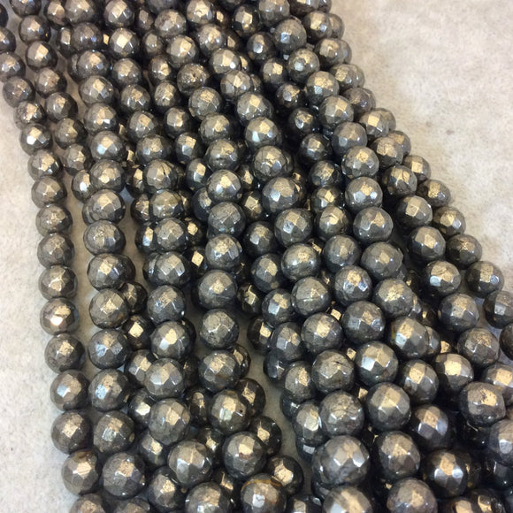 8mm Macro Faceted Metallic Pyrite Round Shaped Beads with 1mm Holes - 15.5