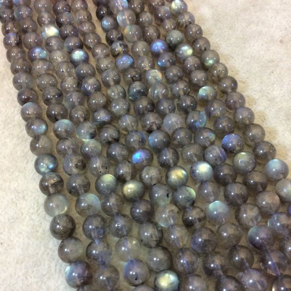 7mm Smooth Natural Iridescent Labradorite Round/Ball Shaped Beads with 1mm Holes - 15.5