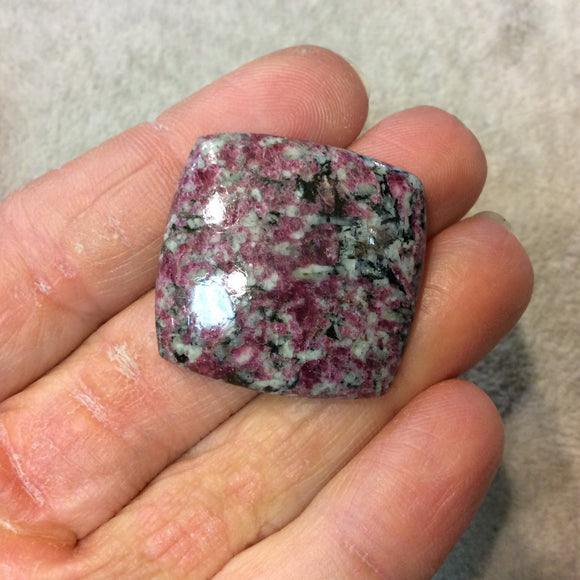 Natural Eudialyte Square Shaped Flat Back Cabochon - Measuring 29mm x 30mm, 5mm Dome Height - Natural High Quality Gemstone