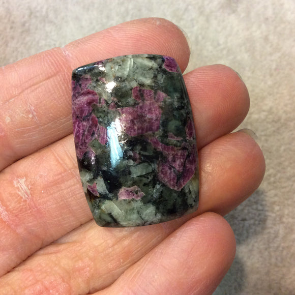 Natural Eudialyte Rectangle Shaped Flat Back Cabochon - Measuring 24mm x 33mm, 5mm Dome Height - Natural High Quality Gemstone