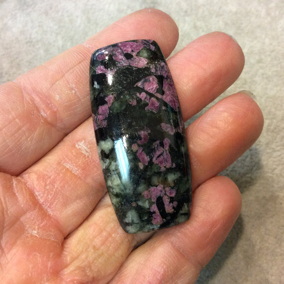 Natural Eudialyte Rectangle Shaped Flat Back Cabochon - Measuring 23mm x 48mm, 5.5mm Dome Height - Natural High Quality Gemstone