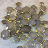Gold Plated Faceted Natural Semi-Opaque Gray Chalcedony Round/Coin Shaped Bezel Connector - Measuring 18mm x 18mm - Sold Individually