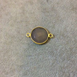 Gold Plated Faceted Natural Semi-Opaque Gray Chalcedony Round/Coin Shaped Bezel Connector - Measuring 15mm x 15mm - Sold Individually