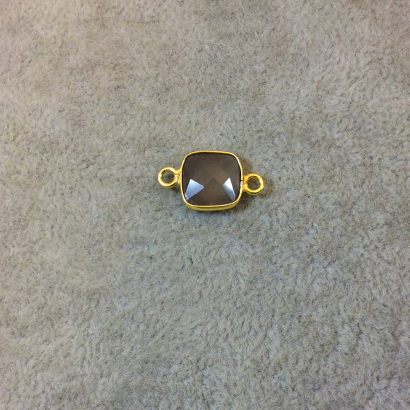 Gold Plated Faceted Natural Semi-Opaque Gray Chalcedony Square Shaped Bezel Connector - Measuring 10mm x 10mm - Sold Individually