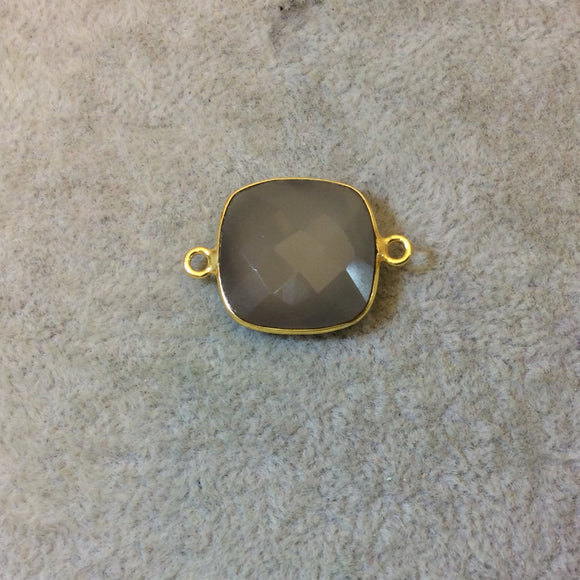 Gold Plated Faceted Natural Semi-Opaque Gray Chalcedony Square Shaped Bezel Connector - Measuring 18mm x 18mm - Sold Individually