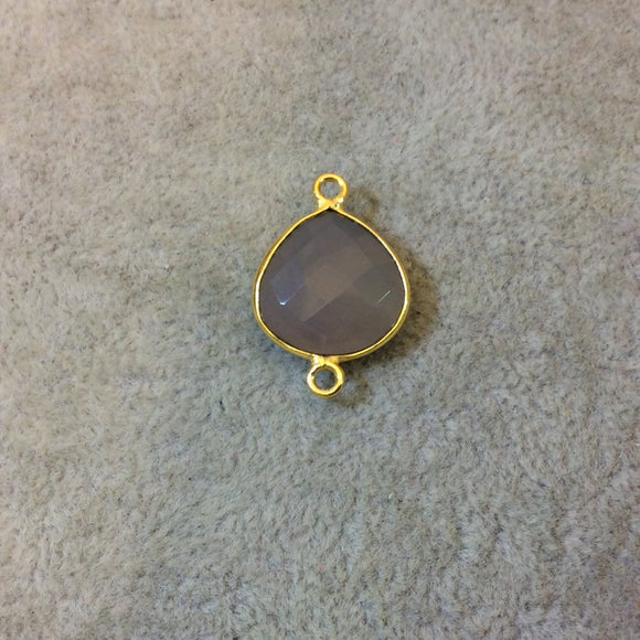 Gold Plated Faceted Natural Semi-Opaque Gray Chalcedony Heart/Teardrop Shaped Bezel Connector - Measuring 15mm x 15mm - Sold Individually
