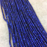"2mm Dyed Blue Howlite Smooth Round/Ball Shaped Beads - Sold by 15.5"" Strands (Approx. 185 Beads) - Natural Semi-Precious Gemstone"