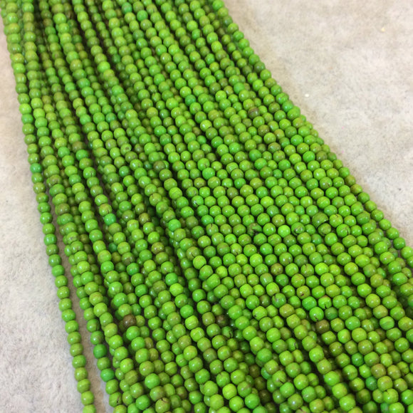 2mm Dyed Bright Green Howlite Smooth Round/Ball Shaped Beads - Sold by 15.5
