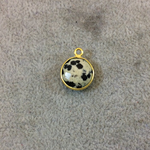 Gold Plated Natural Dalmatian Jasper Faceted Round/Coin Shaped Copper Bezel Pendant - Measures 12mm x 12mm - Sold Individually, Random