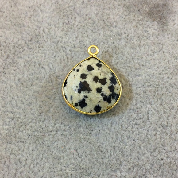 Gold Plated Natural Dalmatian Jasper Faceted Heart/Teardrop Shaped Copper Bezel Pendant - Measures 18mm x 18mm - Sold Individually, Random