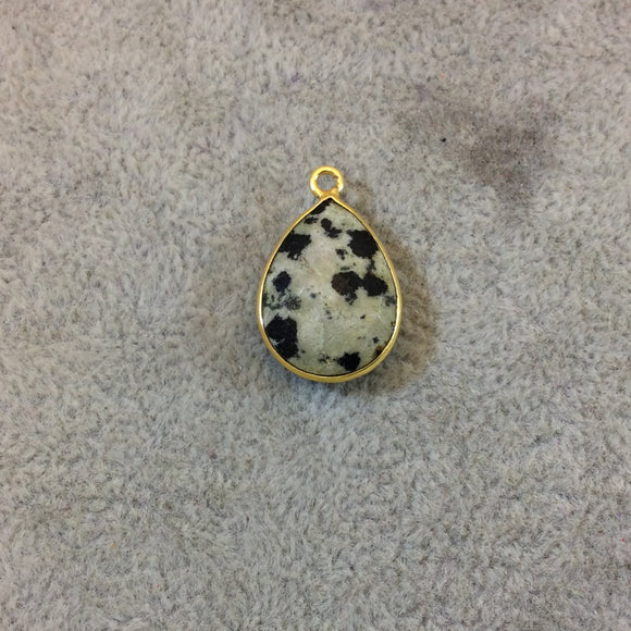 Gold Plated Natural Dalmatian Jasper Faceted Pear/Teardrop Shaped Copper Bezel Pendant - Measures 13mm x 18mm - Sold Individually, Random
